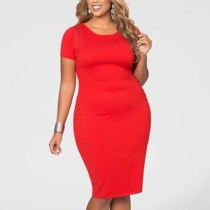 Ashley Stewart red body con dress 14/16
